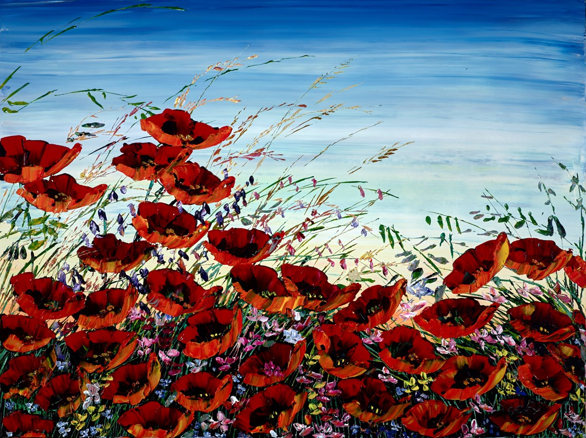 Wild Summer Poppies I by maya eventov -  sized 48x36 inches. Available from Whitewall Galleries
